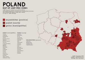 Map of LGBT free-zones in Poland, in the south east of the country